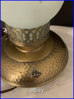 Vintage Fenton Blue Roses Hurricane Lamp (Hammered Metal Base) NICE 10.5 Signed