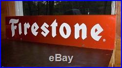 Vintage Firestone Tires Gas Station Oil 48 Double Sided Metal Sign