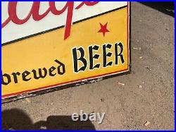 Vintage Fitgers Beer metal sign 5 x 3 Duluth Minnesota circa 1938