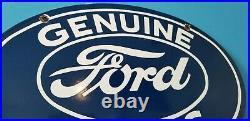 Vintage Ford Automobile Porcelain Gas Service Station Pump Ad Metal Sign
