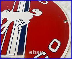 Vintage Ford Bronco Suv Donkey Wheels 11 3/4 Porcelain Metal Gasoline Oil Sign