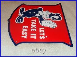 Vintage Ford Policeman Let's Take It Easy 12 Metal Car Truck Gasoline Oil Sign