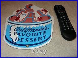 Vintage Foster's Freeze Ice Cream California 10.5 Porcelain Metal Gas Oil Sign