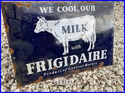 Vintage Frigidaire Porcelain Metal Flange Sign Gas Oil Dairy Farm Cow Milk Beef