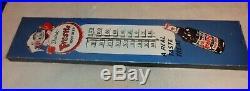 Vintage Frostie Root Beer +elf 36 Porcelain Metal Gas Oil Soda Thermometer Sign