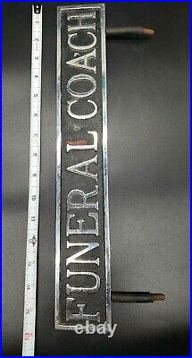 Vintage Funeral Coach Sign Mortuary Cemetery Hearse Cast Metal Sign Oddity 16