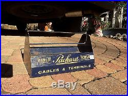 Vintage GM Packard Metal Wiring Caddy Gas Oil Auto Service Station Display Sign