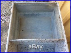 Vintage Galvanized Double Wash Tub, With Lid, Country Farm, On Wheels, Shabby