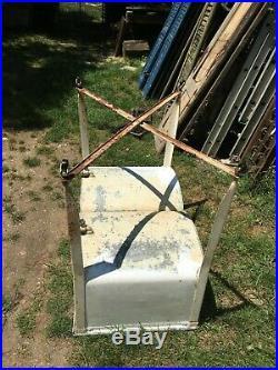 Vintage Galvanized Metal Double Washtub Wash Tub on stand Farm Fresh with Lid