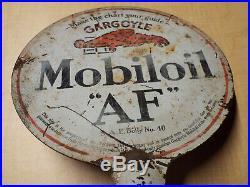 Vintage Gargoyle Mobiloil AF Double Sided Vacuum Oil Lubester Metal Sign Rare