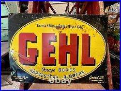 Vintage Gehl Bros Manufacturing Machinery Metal Farm Sign West Bend Wisconsin