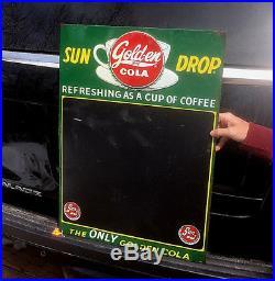 Vintage Golden Girl Sun Drop Cola Soda Pop Metal Menu Board Sign 28X20 With Cup