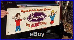 Vintage Grapette Grape Beverage Soda Pop Metal Sign With Child Graphic 31inX12in
