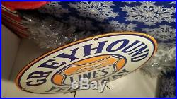 Vintage Greyhound Porcelain Metal Ad Gas Auto Bus Stop Lines Service Sign