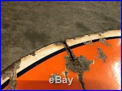 Vintage Gulf 42 Metal Sign Antique Double Sided Garage Man Cave Porcelain