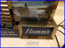 Vintage HAMMS Beer Lighted Back Bar 11x8 ORIGINAL Sign River Island Metal
