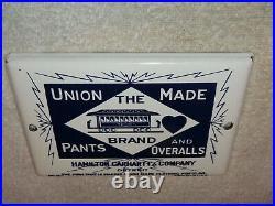 Vintage Hamilton Carhartt Union Made Overalls 7 Porcelain Metal Clothing Sign