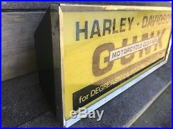 Vintage Harley Davidson Dealer Gunk Lighted Sign Glass Metal Gilbert USA NY