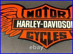 Vintage Harley-davidson Motorcycle 15 Advertising Metal Die-cut Gas & Oil Sign