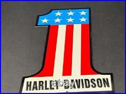 Vintage Harley-davidson Motorcycle Patriotic #1 Logo Advertising Metal Oil Sign