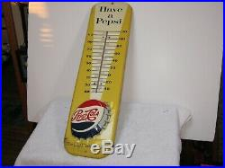 Vintage Have A Pepsi Thermometer Advertising Metal Sign, Found In Old Barn