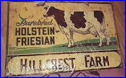 Vintage Hillcrest Farm Metal Sign Purebred Holstein. Friesian Cows Cattle. 2sided