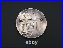 Vintage Hopi Artisan Lawrence Saufkie Sterling Silver Brooch 1.7 Overlay OS478