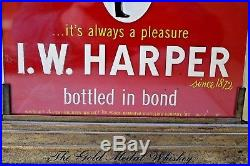 Vintage I. W. Harper Gold Metal Whiskey Advertising Display Sign Kentucky Bourbon