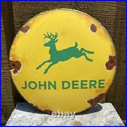 Vintage John Deere Porcelain Metal Enamel Button Sign 6 USA Gas Farming Tractor