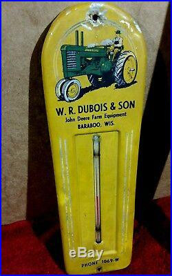 Vintage John Deere advertising thermometer metal farm tractor sign implement
