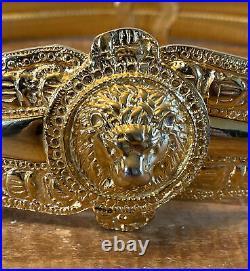 Vintage Judith Leiber Signed Lion Head Gold Tone Metal Stretch Belt 30