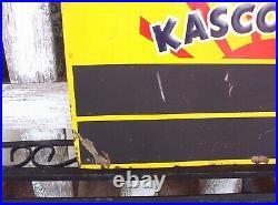 Vintage KASCO FEEDS EGGS Embossed Metal Sign Old Farm Seed Advertising Scioto