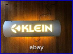 Vintage KLEIN BICYCLE Backlighted Fluorescent Metal Sign 28.5 x 9