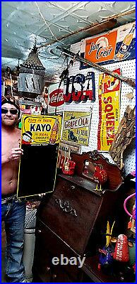 Vintage Kayo Chocolate Soda Pop Metal Sign 28inX14in With Kid & Bottle Graphics