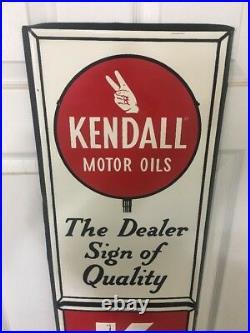 Vintage Kendall Motor Oil Sign Gas Station 72 Metal Gas Dealer Quality Bar Pub