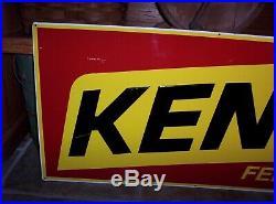 Vintage Kent Feeds Embossed Metal Sign 18 x 36 Old Feed Seed Farm Advertising