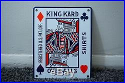 Vintage King Kard Overalls Porcelain Sign Motor Gas Oil Metal Station Pump Plate