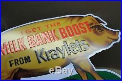 Vintage Kraft Kraylets Pig Milk Bank Boost Feed Embossed Metal Sign Gas Farm