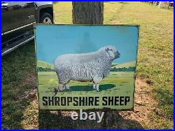 Vintage LARGE HEAVY Shropshire Sheep Farm Painted Metal Sign FARM FEED SEED