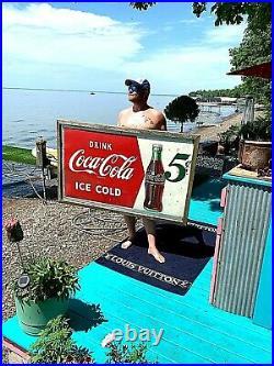 Vintage LG 56x32 Metal Coca Cola Soda Pop Bottle 5 cent Graphic Sign Coke