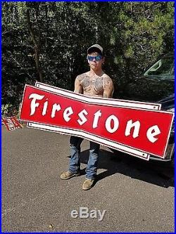 Vintage LG Heavy Metal Early Firestone Tires Bowtie Sign Gasoline Gas Oil 71X23
