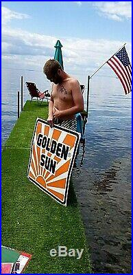 Vintage LG Metal Golden Sun Feeds Chicken Cattle Cow Seed Corn Farm Sign 36X36