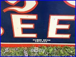Vintage Large 1930's 40's King Cole Beer Diecut Metal Sign by Huber Neon