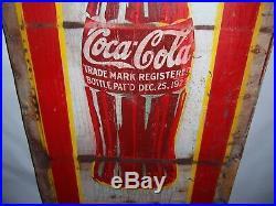 Vintage Large 1930s Coca Cola Soda Pop Bottle Metal Advertising Sign