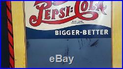 Vintage Large 1940's Drink PepsiCola Bigger Better Chalkboard & Metal Sign
