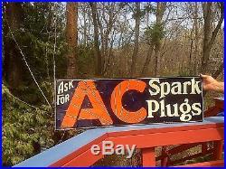 Vintage Large Rare AC Spark Plug Metal Sign Oil Gasoline Service Station 41X13