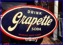 Vintage Large Rare Grapette Grape Beverage Soda Pop Metal Sign 47inX28in NICE