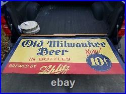 Vintage Large Schlitz Old Milwaukee Bottle Metal Embossed Beer Sign