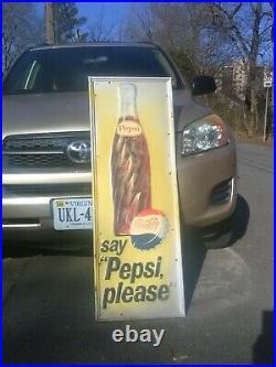 Vintage Large, Tall Pepsi-Cola Vertical Metal Bottle Sign 46 1/2 x 16 1/2