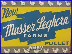 Vintage Leghorn Chicken Feed Pullets Sign Antique Farm Metal Farm Chicks 9303